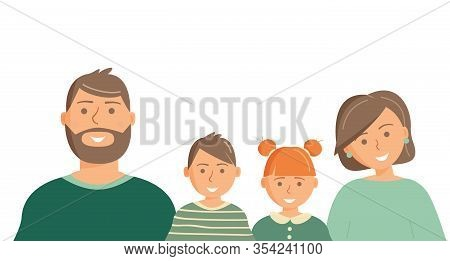 Happy Cute Family Portrait Of Parents And Kids: Father, Mother, Son And Daughter In Green Clothing I