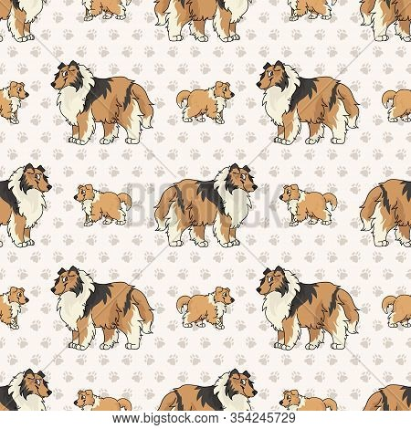 Hand Drawn Cute Rough Collie Breed Dog And Puppy Seamless Vector Pattern. Purebred Pedigree Puppy Do