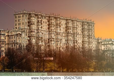 Residential Building In The Style Of The Late Stalin Empire On The Embankment Of The Moscow River. V