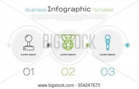 Set Line Joystick For Arcade Machine, Medal And Joystick For Arcade Machine. Business Infographic Te