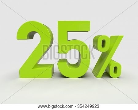 3d Render: Gree 25% Percent Discount 3d Sign on White Background, Special Offer 25% Discount Tag, Sale Up to 25 Percent Off,  Twenty-five Percent Letters Sale Symbol, Special Offer Label, Sticker, Tag