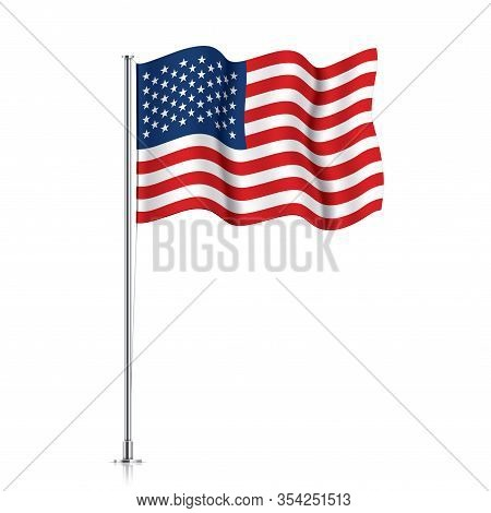 Usa Flag On A Metallic Pole. Official Flag Of The United States Of America, Isolated On A White Back