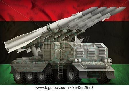 Tactical Short Range Ballistic Missile With Arctic Camouflage On The Libya Flag Background. 3d Illus