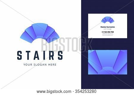 Logo And Business Card Template With Stair Sign. Vector Illustration In Gradient Style For Architect