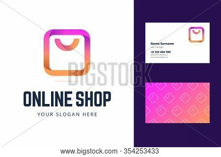 Logo And Business Card Template For Online Shop, Store. Shopping Bag Sign In Modern Gradient Line St