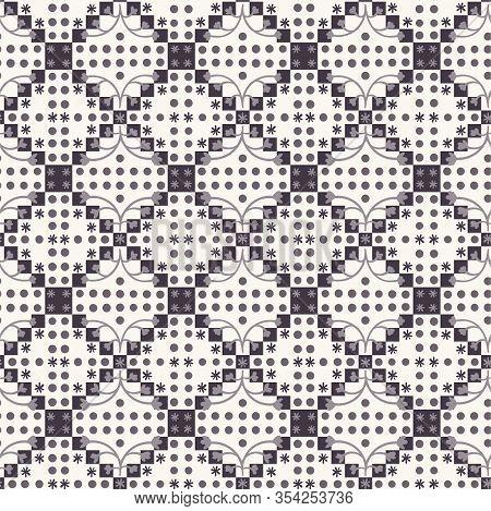 Dark Square Mosaic Effect Vector Texture. Masculine Geometric Seamless Melange Pattern. Hand Drawn V