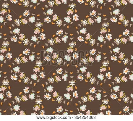 Retro Brown Cut Out Style Daisy Floral Vector Texture. Feminine Geometric Seamless Stylised Flower P