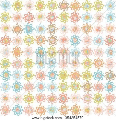 Pastel Cut Out Style Daisy Floral Vector Texture. Feminine Geometric Seamless Stylised Flower Patter
