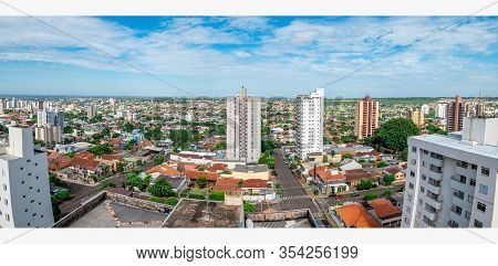 Panoramic Aerial View Of A Low Density City With Few Tall Buildings. Photo Taken At Campo Grande Ms,