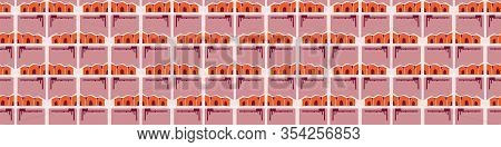 Architectural Hut House Vector Seamless Banner Pattern. Paper Cut Style Collage Border Background. R
