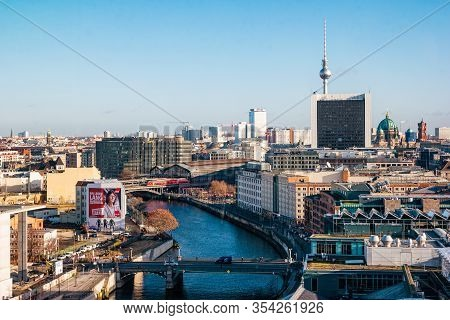 Berlin, Germany - December, 2019: Top View Of The City Berlin From Roof Of Reichstag.