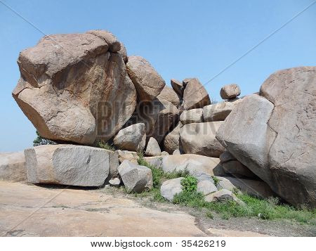 Hemakuta Hill at the Sacred Center of Vijayanagara at Hampi a city located in Karnataka South West India poster