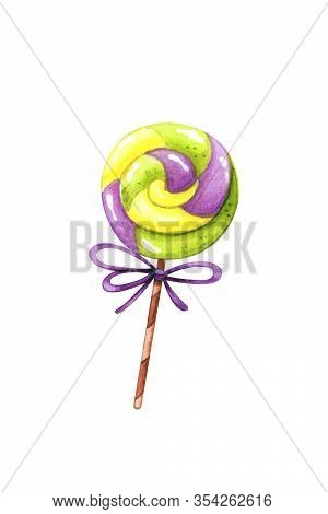 Hand Drawn Watercolor Illustration Of Swirl Lollypop With Bow Isolated On White Background. Sweets,