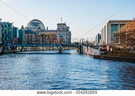 Berlin, Germany - December, 2019: River Spree And The Reichstag In The Distance.