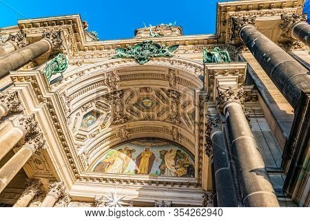 Berlin, Germany - December, 2019: Details Of The Facade Of The Berlin Cathedral In The Historic City