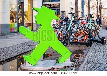 Berlin, Germany - December, 2019: Statue Of An Ampelmann Figure In The Old Town Of Berlin City.
