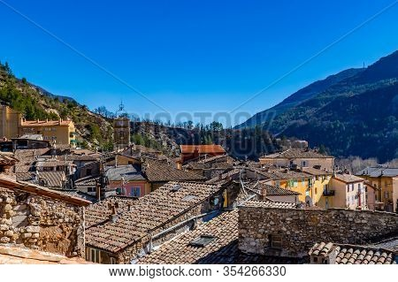 The Panoramic View Of The Old Center Of A French Medieval Village Puget-theniers In The Low Alps (al