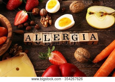 Allergy Food Concept. Allergy Food As Almonds, Milk, Cheese, Strawberry, Seeds, Eggs, Peanuts And .c