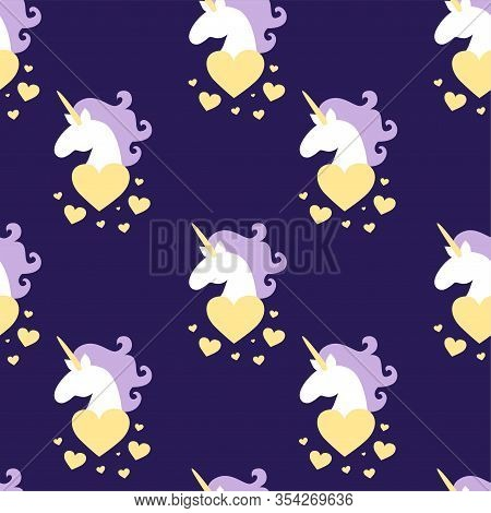 Vector Seamless Pattern Of Magic Fat White Unicorn Horses Head With Purple Mane Around Hearts. Starr