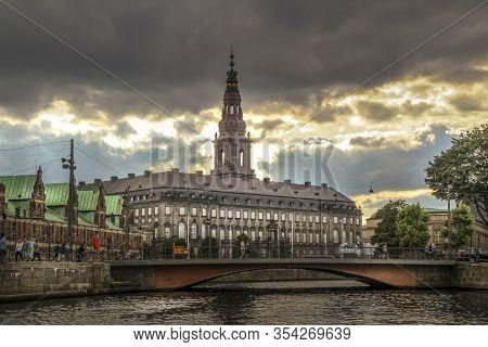 Copenhagen, Denmark - 24 Juli 2012: Christiansborg Where The Danish Government Works And Governs The