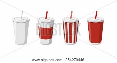 Disposable Paper Beverage Cup Templates Set For Soda With Drinking Straw. 3d Blank White Big Red Str