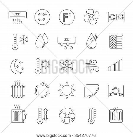 Air Conditioning Linear Icons Set. Thin Line Contour Symbols. Air Heating, Humidification, Ionizatio