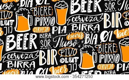 Beer Text Pattern On Black Board. Word Beer In Different Languages. Italian Birra, Spanish Cerveza,