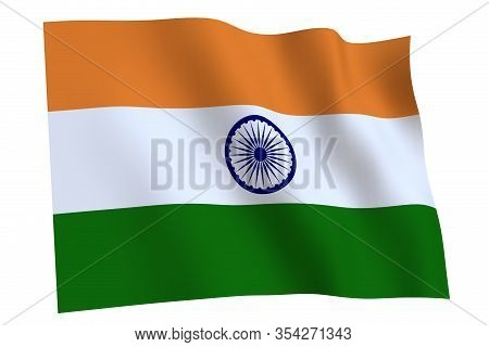India Flag, 3d Render. India Flag Waving In The Wind, Isolated On White Background.