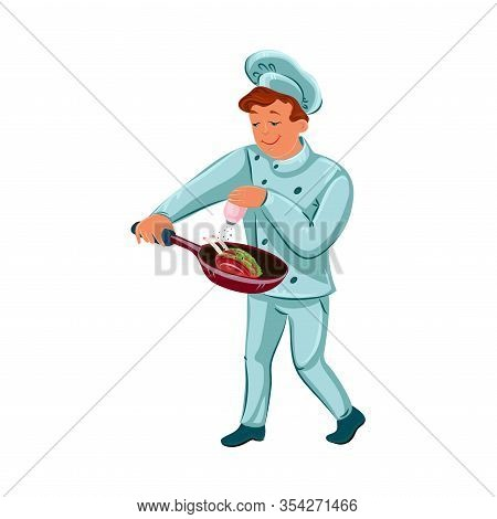 Happy Chef-cook Man Holding The Skillet With Roasted Turkey. Vector Illustration In Flat Cartoon Sty