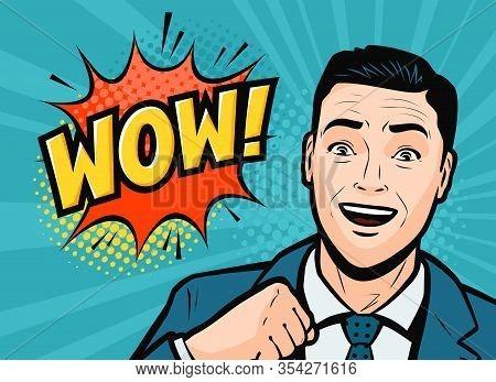 Successful Businessman Is Delighted. Retro Comic Pop Art Vector Illustration