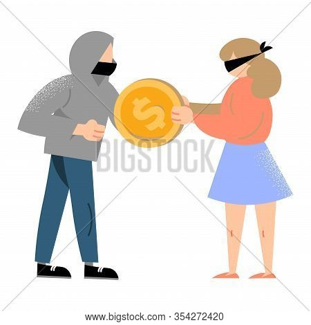 Hacker Robbing Money From Woman With Closed Eyes Committing Crime