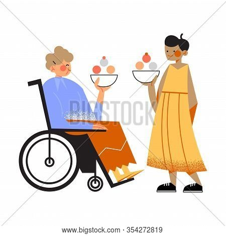 Disabled Old Woman In Wheelchair Enjoying Icecream With Granddaughter