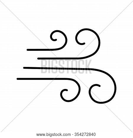 Airflow Glyph Icon. Wind. Windy Weather. Air Ventilation. Silhouette Symbol. Negative Space. Vector
