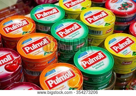 Minsk, Belarus - January 27, 2020: Pulmoll Pastilles. Sucking Lollipops Of Different Tastes On A Sto