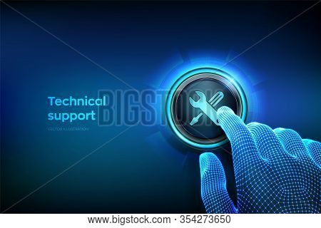 Technical Support Button. Closeup Finger About To Press A Button. Customer Help. Tech Support. Custo
