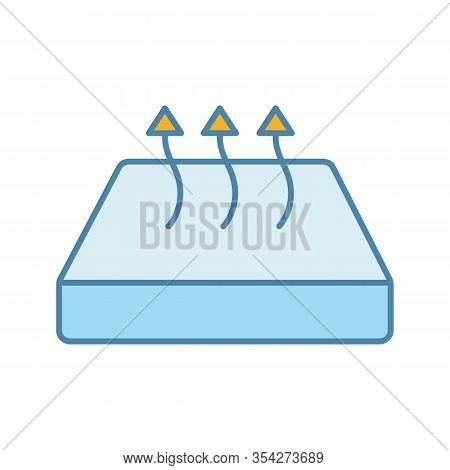 Breathable Mattress Color Icon. Crib Mattress With Breathable Cover Fabric. Isolated Vector Illustra