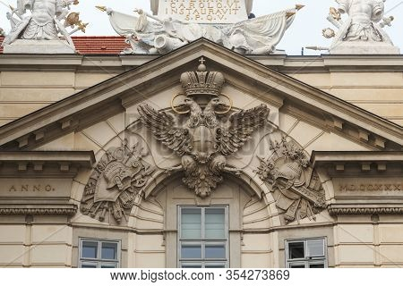Vienna, Austria - May 22, 2019: This Is The Emblem Of The Austrian Empire On The Pediment Of An Admi