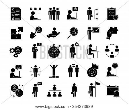 Business Management Glyph Icons Set. Headhunting And Hr Management. Teamwork And Leadership. Busines