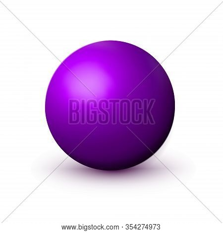 Purple, Violet Sphere, Ball. Mock Up Of Clean Round Realistic Object, Orb Icon. Design Decoration Ro