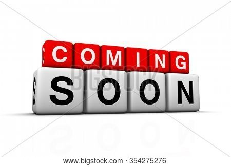 Coming soon 3D sign on white background