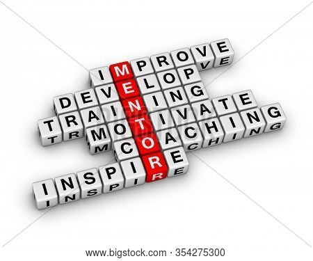 Mentoring 3D crossword puzzle on white background