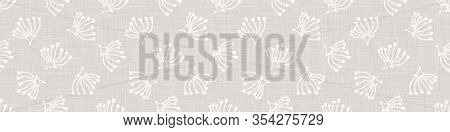 Gray French Country Style Linen Texture Border Background. Printed With White Seed Flower. Natural E