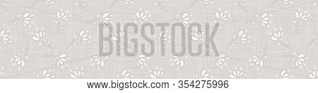 Gray French Country Style Linen Texture Border Background. Printed With White Daisy Flower. Natural