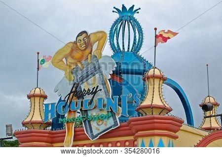 Laguna, Ph - Nov 7: Enchanted Kingdom Theme Park Harry Houdinis Magic Shop Facade On November 7, 200