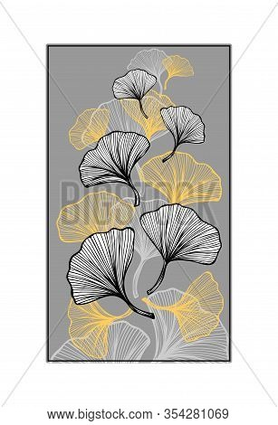 Abstract Composition With Gingko Biloba Leaves For Decoration Different Things Or For Embroidery Or