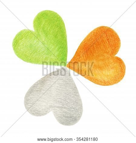 Shamrock In The Colors Of The Irish Flag. Patriotic Irish Clover. Hand-drawn Illustration With Water