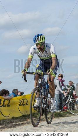 Gruson, France - April 12,2015: The New Zealand Cyclist, Sam Bewley Of Team Europcar, Riding During