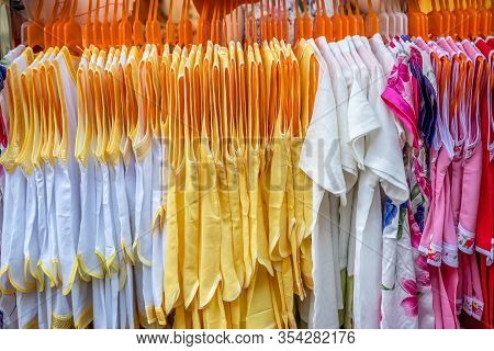 Row Of Ladies Dresses For Sale In Textile Shop, China