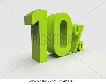 3d Render: Green 10% Percent Discount 3d Sign on White Background, Special Offer 10% Discount Tag, Sale Up to 10 Percent Off, Ten Percent Letters Sale Symbol, Special Offer Label, Sticker, Tag