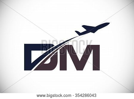 Initial Letter D And M  With Aviation Logo Design, Air, Airline, Airplane And Travel Logo Template.